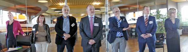 Mitglieder und Gäste der Initiative Reinickendorf beim 1. Unternehmerfrühstück 2018 im Finanzamt Reinickendorf